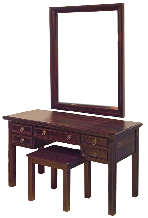 Lauren Dressing Table no hutch large mirror on wall