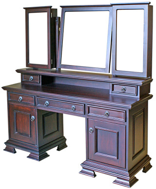 Detail Dressing Table with hutch and three mirrors with side cabinets