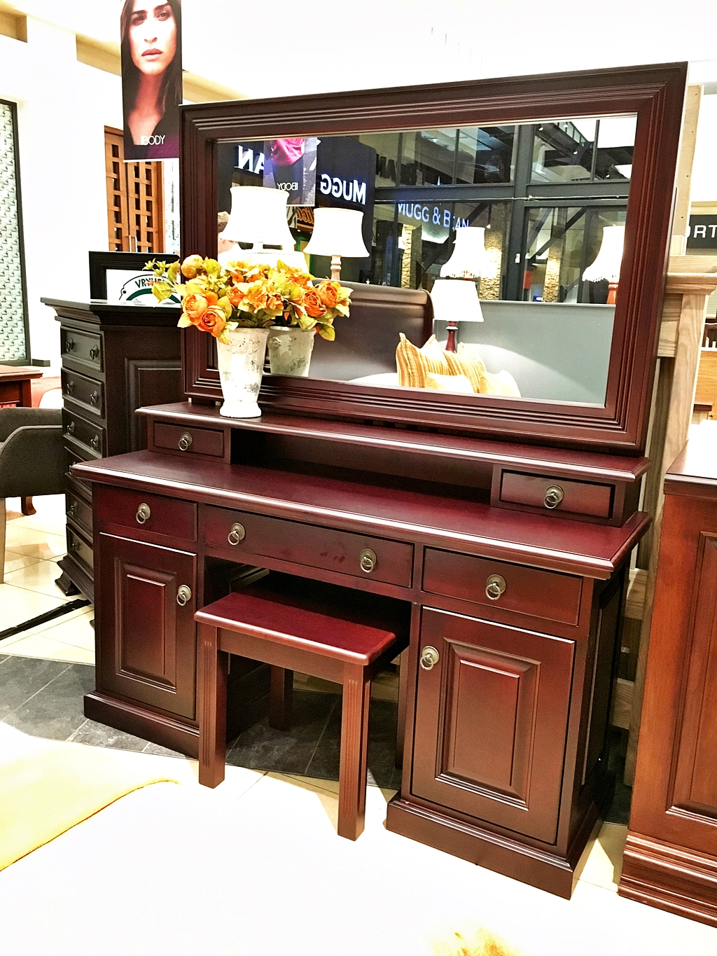 Dressing Table Megan Normal Hutch Large Mirror Vryheid Country Furniture